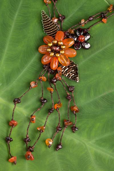 Carnelian and garnet flower necklace, 'Blossoming Comets' - Carnelian Garnet and Pearl Necklace Handcrafted Jewelry