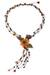 Carnelian and garnet flower necklace, 'Blossoming Comets' - Carnelian Garnet and Pearl Necklace Handcrafted Jewelry (image 2a) thumbail