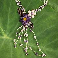 Cultures pearl and amethyst flower necklace, 'Blossoming Comets' - Pearl Amethyst and Rose Quartz Necklace Handcrafted Jewelry