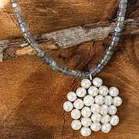 Rainbow moonstone and cultured pearl pendant necklace, 'Snow Garden' - Handmade Thai Moonstone and Pearl Beaded Pendant Necklace