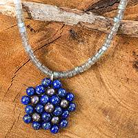 Cultured pearl and lapis lazuli pendant necklace, 'Blue Garden' - Handmade Thai Pearl and Lapis Beaded Pendant Necklace