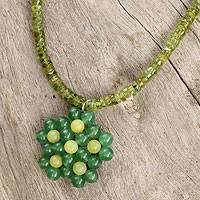 Peridot pendant necklace, 'Citrus Garden' - Handmade Thai Serpentine and Peridot Beaded Pendant Necklace