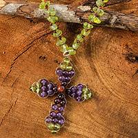 Peridot and amethyst pendant necklace, 'Precious Cross' - Thai Peridot and Amethyst Beaded Cross Necklace