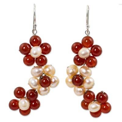 Cultured pearl and carnelian flower earrings, 'Bright Bouquet' - Handmade Pearl and Carnelian Flower Earrings