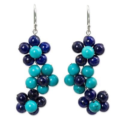 Handmade Lapis Lazuli and Calcite Flower Earrings