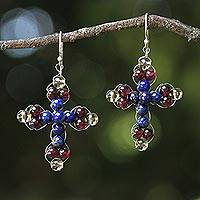 Lapis lazuli and garnet dangle earrings, 'Precious Cross' - Thai Lapis and Garnet Beaded Cross Earrings
