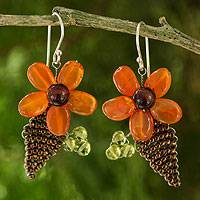 Carnelian and peridot flower earrings,