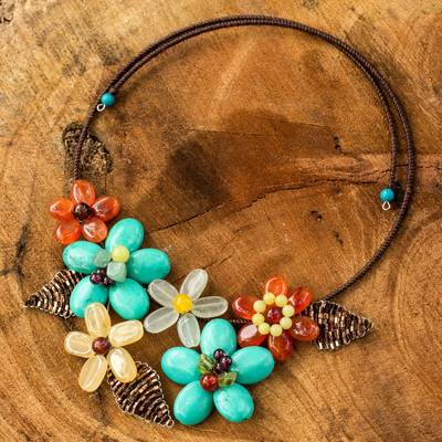 Carnelian and aventurine flower necklace, 'Blue Ginger Bouquet' - Fair Trade Multi Gemstone Necklace Floral Jewelry