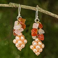 Cultured pearl and rose quartz cluster earrings, 'Heavenly Gift' - Handmade Pearl and Gemstone Cluster Earrings