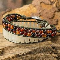 Quartz and agate wrap bracelet,