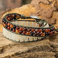 Quartz and agate wrap bracelet, 'Ice Fire' (Thailand)