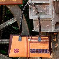 Leather accent cotton shoulder bag Naga Tribal Brown Thailand