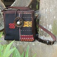 Leather accent cotton shoulder bag Black Tribal Journey Thailand