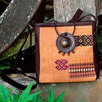Leather accent cotton shoulder bag Tribal Journey Thailand