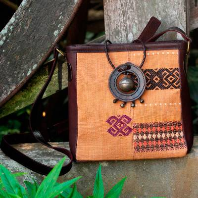 Leather accent cotton shoulder bag, 'Tribal Journey' - Brown Naga Tribe Handwoven Leather Accent Purse