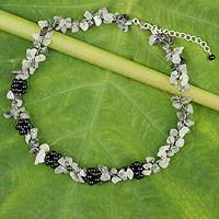 Tourmalinated quartz and onyx beaded necklace, 'Heaven's Gift' - Handmade Tourmalinated Quartz and Onyx Necklace