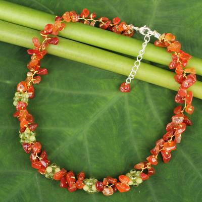 Carnelian and peridot beaded necklace, 'Heaven's Gift' - Thai Handmade Carnelian Necklace with Peridot Clusters