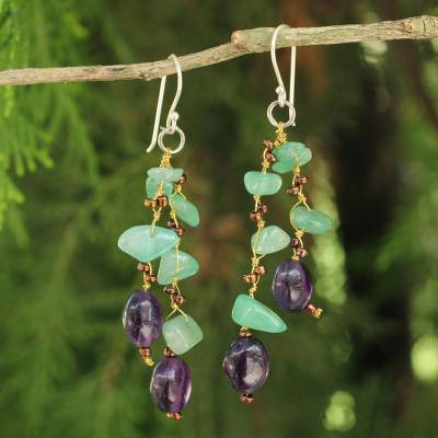 Aventurine and amethyst beaded earrings, 'Mystic Jungle' - Handcrafted Aventurine and Amethyst Beaded Earrings