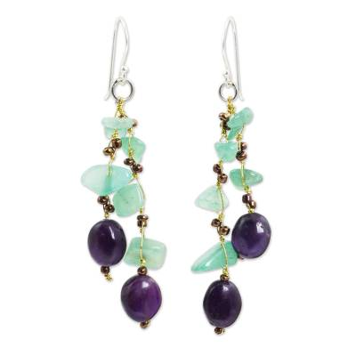 Aventurine and amethyst beaded earrings, 'Mystic Jungle' - Handcrafted Aventurine and Amethyst Beaded Earrings