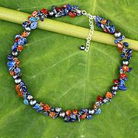 Cultured pearl and lapis lazuli beaded choker, 'Luscious Chic' - Hand Knotted Pearl Lapis Lazuli Carnelian Choker Necklace