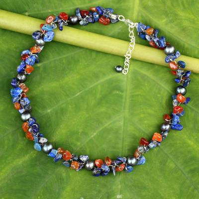 Cultured pearl and lapis lazuli beaded choker, Luscious Chic