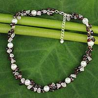 Cultured pearl and garnet beaded choker, 'Luscious Chic' - Hand Knotted Pearl Garnet and Rose Quartz Choker Necklace