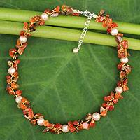 Cultured pearl and carnelian beaded choker, 'Luscious Chic' - Hand Knotted Pearl Carnelian and Tiger's Eye Choker Necklace