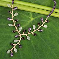 Amethyst and aventurine beaded necklace,