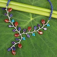 Lapis lazuli and carnelian beaded necklace,