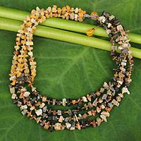 Beaded necklace, 'Rivers of Sun' - Handcrafted Jasper Necklace Thai Beaded Jewelry