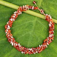 Carnelian and rose quartz beaded necklace,