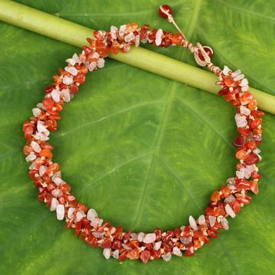 Carnelian and rose quartz beaded necklace, 'Tropical Glam' - Artisan Crafted Necklace Carnelian and Rose Quartz