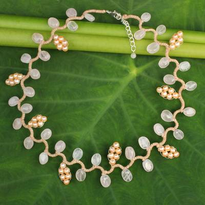 Cultured pearl and rose quartz beaded necklace, 'Sweet Peach Ivy' - Artisan Crafted Pearls and Rose Quartz Necklace