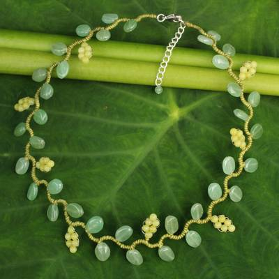 Aventurine and serpentine beaded necklace, 'Sweet Yellow Ivy' - Fair Trade Beaded Ornament Necklace