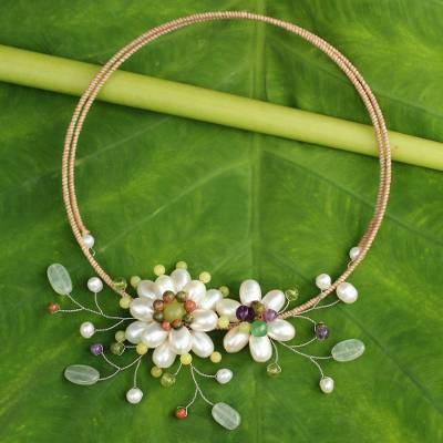 Cultured pearl flower necklace, 'White Sonata' - Handcrafted Pearl and Multi Gems Choker Necklace