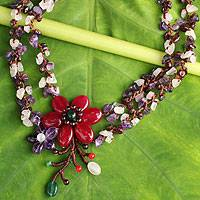Garnet and amethyst necklace, 'Festive Flowers' - Thai Handcrafted Garnet and Amethyst Floral Necklace