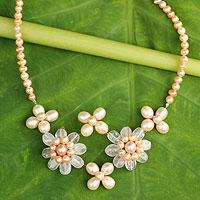 Cultured pearl and rose quartz flower necklace, 'Quintet'