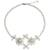 Cultured pearl flower necklace, 'Quintet' - White Pearls and Clear Quartz Flower Necklace (image 2a) thumbail
