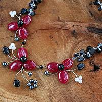 Onyx and cultured pearl flower necklace, 'Blossoming Feast' - Onyx and Pearl Beaded Necklace