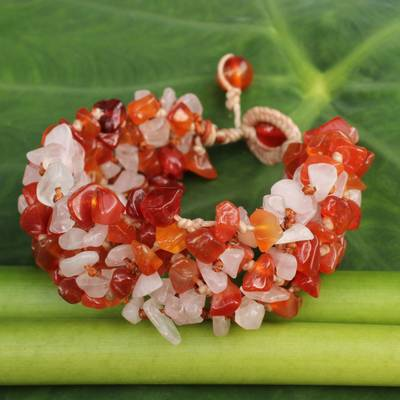 Carnelian and rose quartz beaded bracelet, 'Tropical Glam' - Artisan Crafted Bracelet Carnelian and Rose Quartz