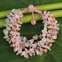 Rose quartz beaded bracelet, 'Pink Flow' - Rose Quartz Bracelet Handcrafted Jewelry