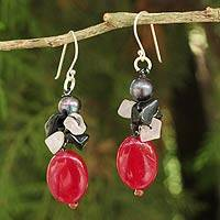 Cultured pearl and onyx beaded earrings,