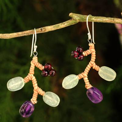 Amethyst and aventurine beaded earrings, 'Purple Coral' - Handcrafted Aventurine and Amethyst Beaded Earrings