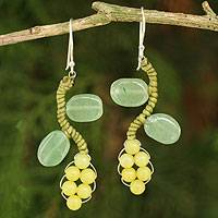 Aventurine and serpentine beaded earrings, 'Sweet Yellow Ivy' - Artisan Crafted Earrings Beaded Jewelry