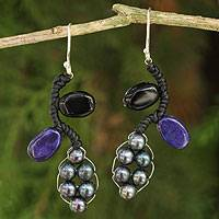 Cultured pearl and onyx beaded earrings, 'Sweet Gray Ivy' - Artisan Crafted Earrings Beaded Jewelry
