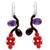 Amethyst and garnet beaded earrings, 'Sweet Red Ivy' - Fair Trade Beaded Earrings Jewelry (image 2a) thumbail