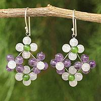 Amethyst and quartz dangle earrings, 'Nosegay' - Hand Made Amethyst and Quartz Dangle Earrings