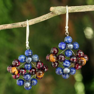 Lapis lazuli and garnet dangle earrings, Nosegay