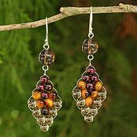 Smoky quartz and tiger's eye dangle earrings, 'Seasonal Bloom' - Thai Smoky Quartz and Tiger's Eye Earrings with Garnet