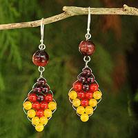 Carnelian and garnet dangle earrings, 'Seasonal Bloom' - Thai Carnelian and Yellow Quartz Earrings with Garnet